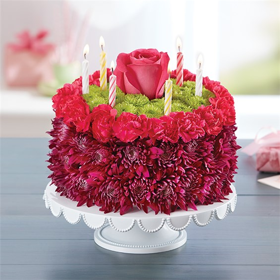 1 800 Flowers 174 Birthday Wishes Flower Cake Purple