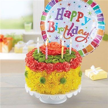 1 800 FlowersR Birthday Wishes Flower CakeTM Yellow 148664Lb HR Fd 3 8 17 NEW